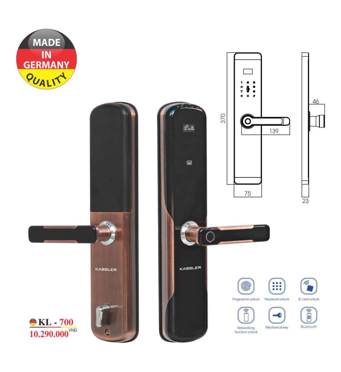 Khóa vân tay Kassler KL-700 - Mở khóa bằng App điện thoại